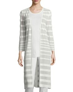 Long-Sleeve Sheer-Striped Long Duster Coat, Women's, Ivory - Misook