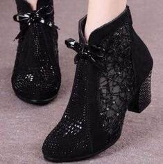 Thick Mid Heel Nubuck Leather Lace Floral Bowknot Pearl Rivets Summer Women Fashion Sandals Ankle Boots Plus Size Fashion Sandals, Women's Summer Fashion, Leather And Lace, Ankle Boots, Plus Size, Pearls, Floral, Womens Fashion, Stuff To Buy