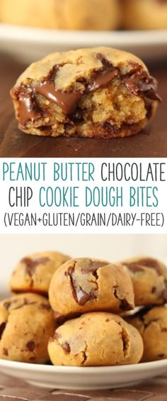 Peanut butter chocolate chip cookie dough bites (grain-free, gluten-free, dairy-free + vegan option)