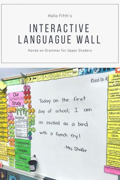 Language Wall Pieces by Hello Fifth Are you looking for a way to get grammar in the hands of your students so that they are able to visually apply rules to tangible writi. 5th Grade Writing, 6th Grade Ela, 4th Grade Reading, Kids Writing, Fourth Grade, Primary Teaching, Teaching Posters, Teaching Grammar, Teaching Spanish
