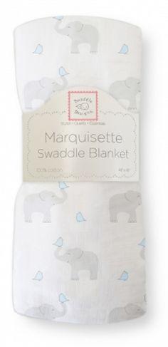 """Dekorativt """"Marquisette"""" gas-teppe.Swaddle Blanket, Elephant & Chickies, morning sky.Grå og blå.  Supre babytepper til svøping -gir trygghetsfølelse og støtte til nyfødte ved søvn.Også behagelig omslag når man skal holde babyen.* Marquisette er et tynt, løst vevd bomullsstoff igas-kvalitet (lik 1-lags musselin).*Meget luftige og behagelige.* Enkle å vaske - blir mykere og mykere for hver vask.* Naturlige fargeruten aminer, formaldehyd og azo-fargestoff. *Påsydd pat..."""