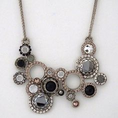 Sorrelli French Blush Necklaces. Gray, black vintage circle shapes, accents of vintage rose crystals create a classic Sorrelli Necklace.