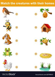 Matching game for children animals with their hom vector image on VectorStock Fun Worksheets For Kids, Animal Activities For Kids, Educational Activities For Kids, Montessori Activities, Printable Preschool Worksheets, Preschool Activity Books, Preschool Writing, Preschool Phonics, Animals And Their Homes