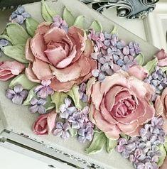 Clay Wall Art, Clay Art, Plaster Paint, Cold Porcelain Flowers, Cement Art, Tile Crafts, Sculpture Painting, Mosaic Art, Flower Art