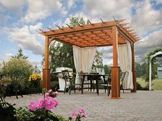10'x10' Traditional Wood Pergola with Superior Posts and Curtains