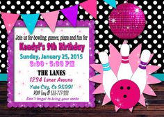 Bowling Invitation / Bowling birthday party by LoveLeeDesigns1