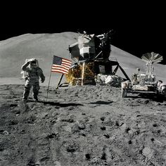 The First Lunar Rover - Astronaut James B. Irwin, lunar module pilot, during the Apollo 15 lunar surface extravehicular activity (EVA) on August 1, 1971, at the Hadley-Apennine landing site!