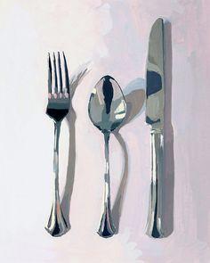 kitchen art - giclee print - Silverware