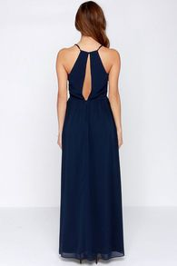 Navy Spaghetti Strap Maxi Dress - Sheinside.com