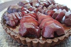 Chocolate Tart with Red Wine Pears