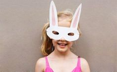 Fun DIY Easter bunny face mask for kids by Bkids Crafts.
