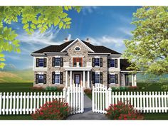 ePlans Georgian House Plan – Two Story Stone Georgian Colonial - 3622 Square Feet and 4 Bedrooms from ePlans – House Plan Code HWEPL76545