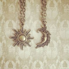 Me and the Moon - Antique Gold Sun and Moon Friendship Necklaces - Handmade by Traditionalheart - SET OF 2 on Etsy, $13.43 AUD