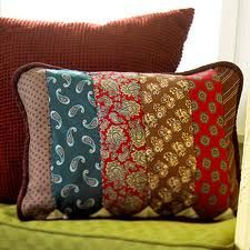 Old scarves can be reused to redo a lampshade cover or made into a pillow.  Ties and scarves can be sewn together and used for a window valance.