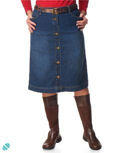 Faux Button Front Denim Skirt