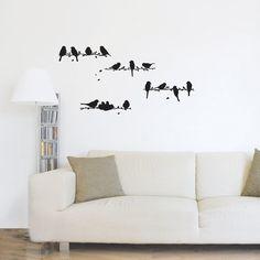 Birds Sparrows Raven on a Tree Branch Vinyl Decal Wall Art Black Home Decor Entryway Hanging. $32.00, via Etsy.