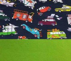 Set Jersey lustige Autos dunkelblau+Bündchen