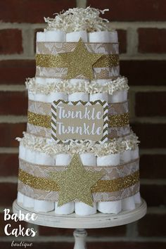 3 Tier Twinkle Twinkle Little Star Diaper Cake, Gold, Burlap, Gender Neutral Baby Shower Cake, Centerpiece, Burlap and Lace, Little Star by BabeeCakesBoutique on Etsy