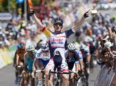 Erstes wichtiges Rennen, erster Sieg: Sprinter André Greipel gewann die erste Etappe der Tour Down Under in Australien. Der in Rostock geborene Radprofi setzte sich auf dem 135 Kilometer langen Teilstück zwischen Prospect und Lobethal im Schlussspurt vor der Konkurrenz durch. (Foto: Ben Macmahon/dpa)