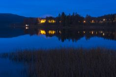 View of Bogstad farm at night. Landscape Pictures, Oslo, Runes, Norway, Landscapes, Seasons, Mountains, Night, Water