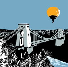 A strong graphic print of the iconic bridge in Clifton, Bristol. Printed in two image sizes. 28 x and also 50 x It is a giclee print. Tour Posters, Travel Posters, Linocut Prints, Giclee Print, Bridge Tattoo, Bristol Street, Graphic Art Prints, Graphic Design, Bridge Painting