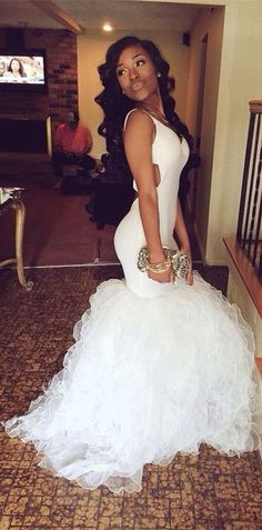 Backless White Mermaid Prom Dresses 2017, Long Graduation Party Dress,Sweep Train Ruffles Organza Prom Dress Gowns ,Evening Party Dress,Prom Dresses for Teens