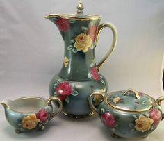 Nippon Chocolate Tea Set | Nippon Chocolate Pot Set Hand Painted Red Yellow Roses Green Tea ...
