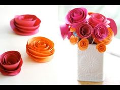 ▶ how to make a colorful rose flower from printer paper - YouTube