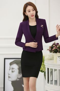 29c3754059e8 Novelty Purple Slim Fashion Professional Blazers Suits With Jackets And  Dress Spring Autumn Business Women Office Ladies Outfits