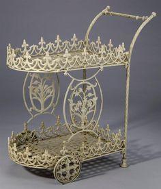 Tea Cart in Antique White Finish
