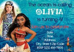 Moana Invitation, Disney Moana Birthday party Invitation