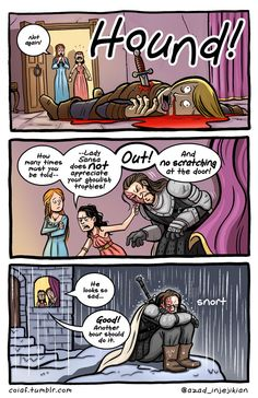Witty Comics Based on Characters & Scenes From 'Game of Thrones' – momo Witty Comics Based on Characters & Scenes From 'Game of Thrones' Bad Dog! Game Of Thrones Comic, Game Of Thrones Books, Game Of Thrones Funny, Witty Comics, Game Of Thones, Got Memes, My Sun And Stars, Fandoms, Winter Is Coming