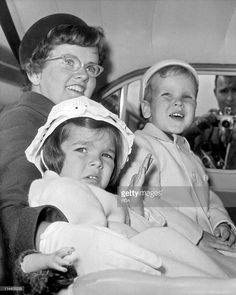 Prince Albert (future Albert II) and Princess Caroline of Monaco with their nanny at London airport going to Dublin June 13, 1961.