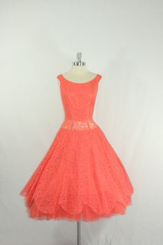 1950s Party Dress Vintage Deep Coral Lace by VintageFrocksOfFancy