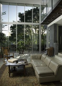 living room wall of windows