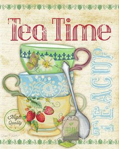 Tea Art Print by Jean Plout. All prints are professionally printed, packaged, and shipped within 3 - 4 business days. Decoupage Vintage, Decoupage Paper, Decoupage Ideas, Coffee Time, Tea Time, Coffee Cup, Tee Kunst, Tea Quotes, Cuppa Tea