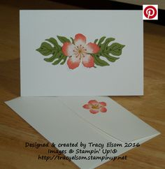 handmade simple notecard and envelope created using the Botanical Blooms Stamp Set and Botanical Builder Framelits Dies from the Stampin' Up! 2016 Occasions Catalogue. http://tracyelsom.stampinup.net