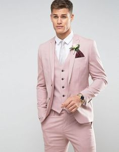 Tailor Made Pink Men wedding Suits Slim Fit Groom Prom Party Blazer Male Tuxedo Jacket+Pants+Vest Costume Marriage Homme Terno Men's Tuxedo Wedding, Best Wedding Suits, Wedding Men, Blazer For Men Wedding, Wedding Reception Outfit, Wedding Attire, Pink Suit Men, Pink Prom Suit, Suit For Men