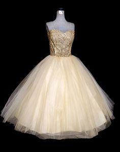 Vintage 50s Dress // 1950s Strapless Dress Bronze Sequins and Ivory Tulle Princess Dress // 1950s Tea Length Prom Bridal Dress. via Etsy.