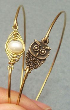 Bangle bracelet #owl #pearl