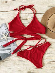 Sexy Bikini Set Kreuz Vorne Neckholder-burgund rot- German SheIn(Sheinside)