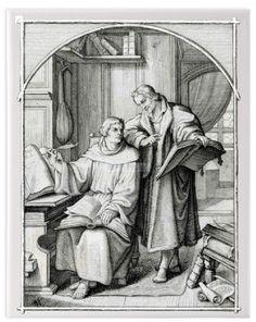 Luther übersetzt mit Hilfe Melanchthons die Bibel, Kunstdruck auf Leinwand