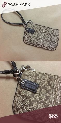 COACH Small Brown Canvas Wristlet Great condition. Never been used. I just found it in the box and I don't have any use for it now. Perfect to hold cell phone, some cash and credit cards. Coach Bags Clutches & Wristlets