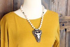 Southwestern Style Steer Skull Pendant Necklace, Steer Skull Jewelry, Western Steer Head Necklace, Unique Western Necklace by BuckskinBetty on Etsy https://www.etsy.com/listing/570126084/southwestern-style-steer-skull-pendant. Handmade