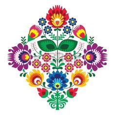 Folk broderie avec des fleurs - modèle traditionnel polonais