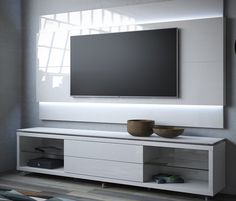 Manhattan Comfort Lincoln TV Stand with Silicon Casters and Lincoln Floating Wall TV Panel with LED Lights for TVs up to Multiple Colors, White Gloss Home Para Tv, Rack Vintage, Samira Tv, Tv Panel, Modern Tv, Modern Living, Entertainment Stand, Floating Wall, Tv Decor