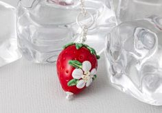 Lampwork Strawberry Pendant by Ciel Creations