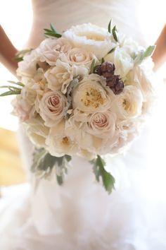 bridal with more greenery and pops of burgundy