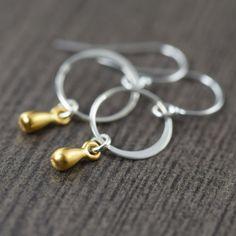 Minimalist earrings Teardrop earrings in sterling silver vermail