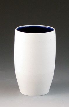 Blue and White simple wheelthrown cup. $14.00, via Etsy.